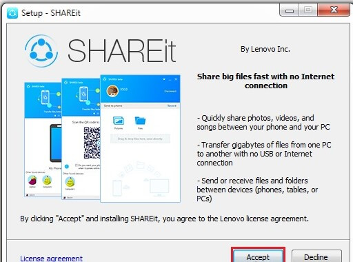 accept and install SHAREit