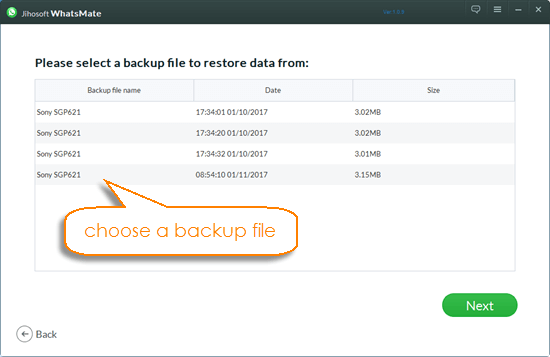 Chose a whatsapp Data Back up File in Whatsapp Manager