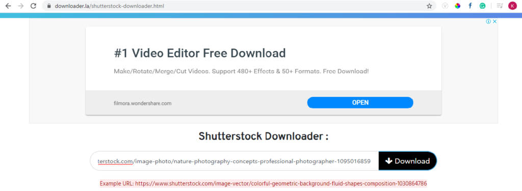 paste the URL Download Shutterstock Images