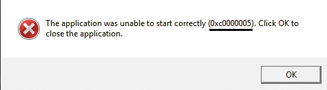 Application Error code 0xc0000005