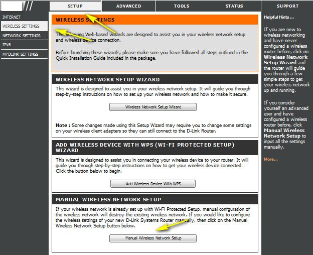 Click -on -Wireless- Manual -Setup - change - Wi-Fi- password