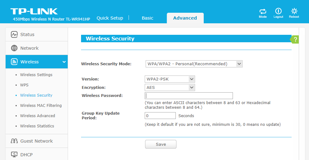 Click- on- Wireless- and- click -on- Wireless Security-change-WiFi-password