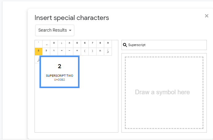 Click on any one Character [ superscript or subscript in google docs]