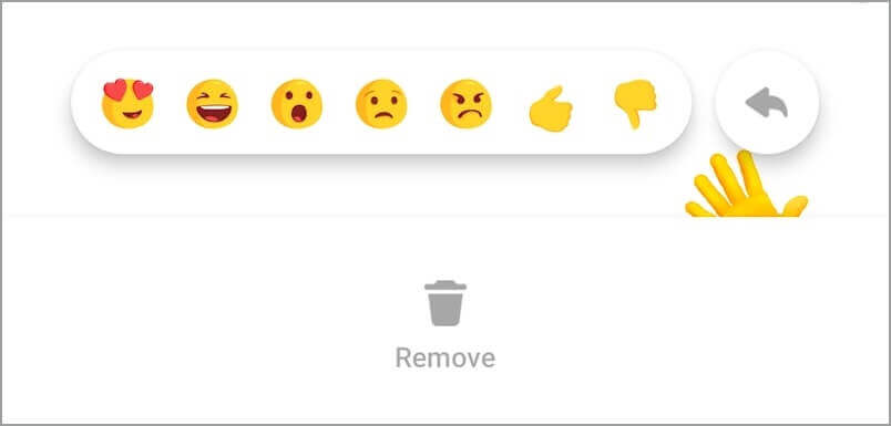 Click on remove to undo wave on messenger
