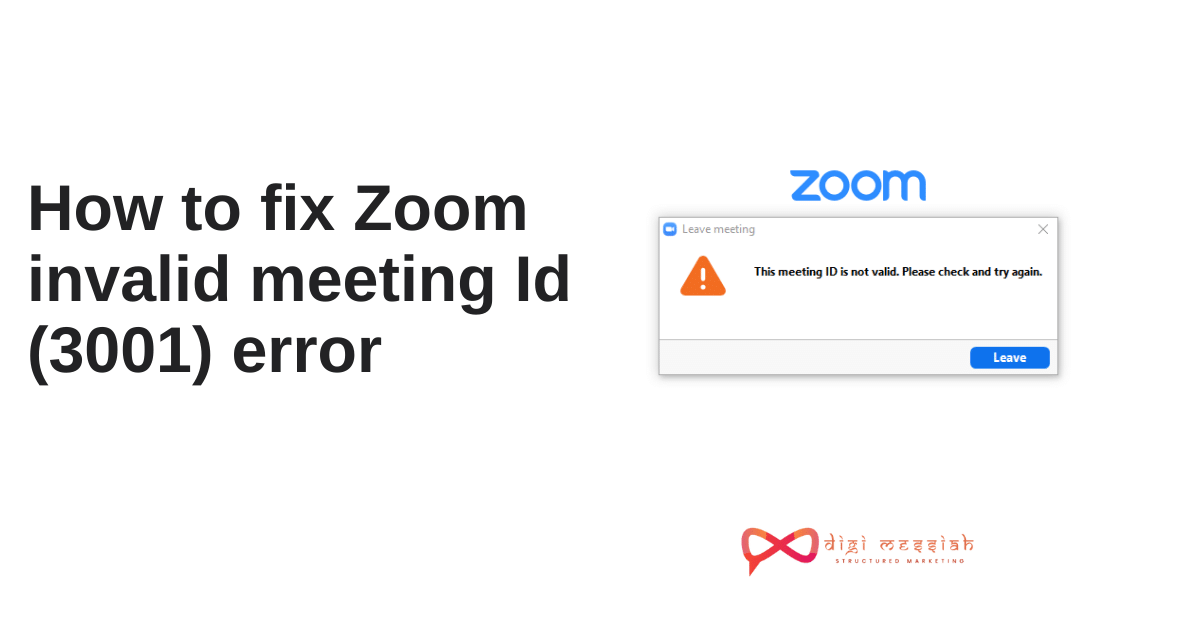 How to fix Zoom invalid meeting Id (3001) error