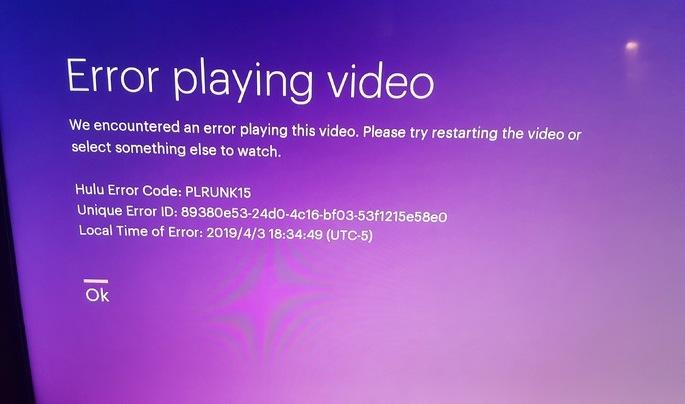 Hulu Error Code PLRUNK15