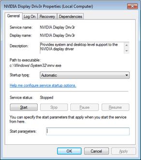 change NVIDIA Display Driver Service Status