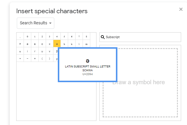click any one character [ superscript or subscript in google docs]