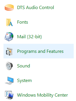 click on programs and features