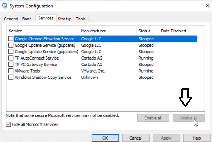 disable all services