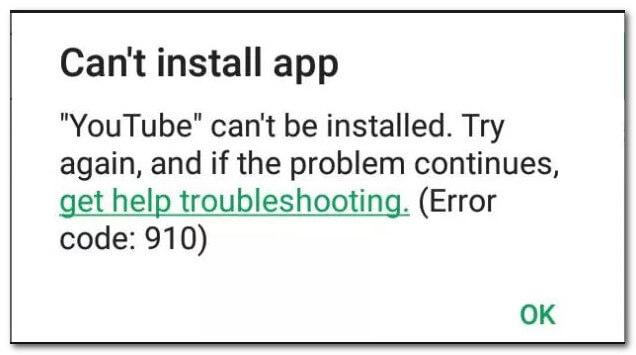 error code 910 message
