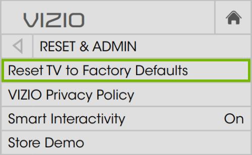 factory data reset of smartcast tv