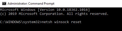 netsh winsock reset