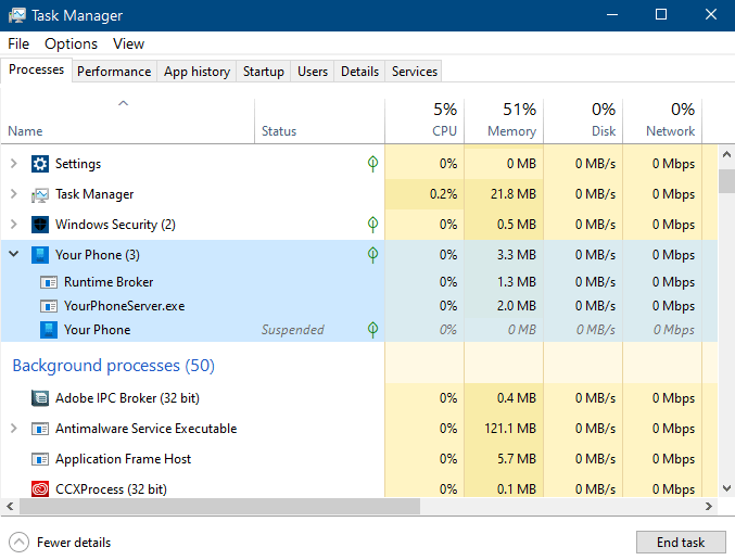 open task manager and look for Yourphone