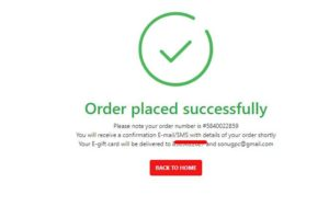 order placed successfully