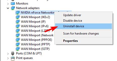 reinstall network adapters