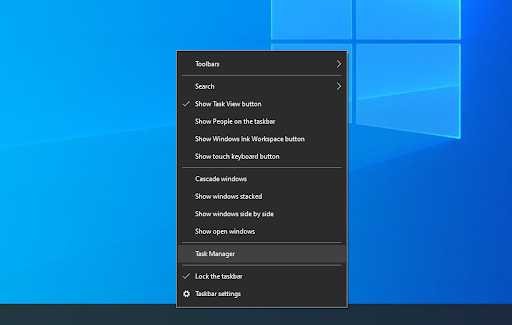 right click windows task bar and click on task manager