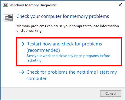 run windows memory diagnostic-tool
