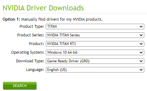 search for latest graphic drivers
