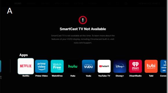 smartcast tv not available error