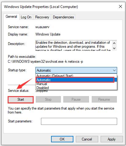 start your windows update service