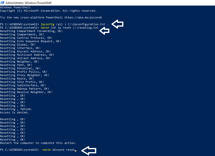 winstock reset through powershell