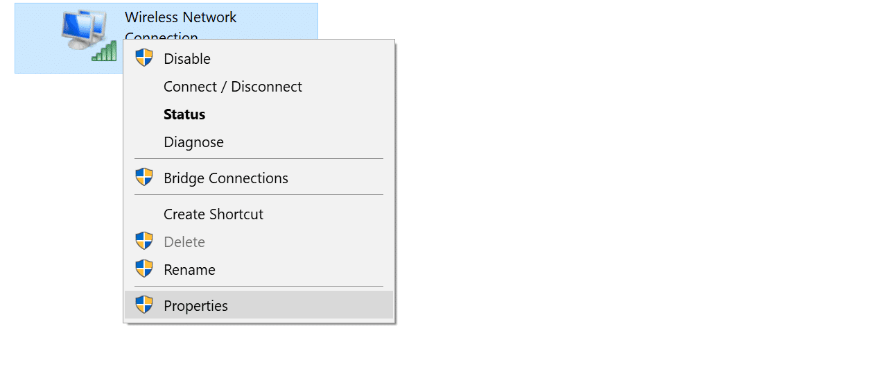 wireless connection properties